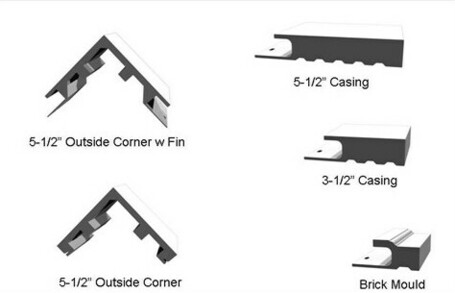 Exterior Trim Profiles with Siding Pocket-Nailing Fin-Cellular Mouldings